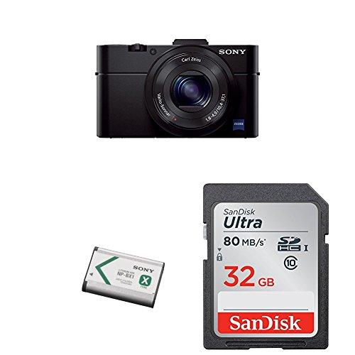 Sony DSCRX100M2/B 20.2 MP Cyber-shot Digital Still Camera (Black) + Sony NP-BX1/M8 Lithium-Ion X Type Battery (Silver) + SanDisk 32GB Ultra Class 10 SDHC UHS-I Memory Card Up to 80MB, - Sony Memory Camera 10 Class