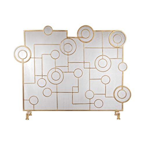 Mid Century Modern Geometric Gold Circles Firescreen | Fireplace Screen Lines