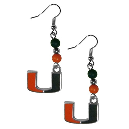 NCAA Miami Hurricanes Fan Bead Dangle Earrings