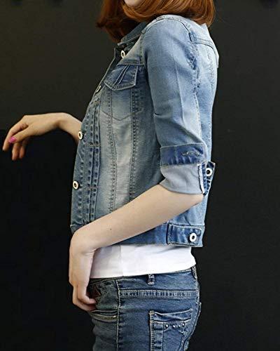 Donna Single Manica Anteriori Jeans Primaverile Strappato Blau Di Fit 1 Elegante Semplice Tasche Corto Moda Outwear Outerwear Slim Giovane Glamorous Lunga Cappotto Giacche Breasted P8wEq6xP