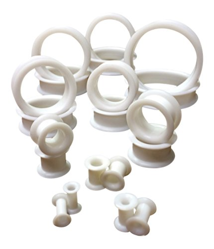 PAIR of White Soft Silicone Ear Tunnels Plugs - up to size 50mm! (1&1/2