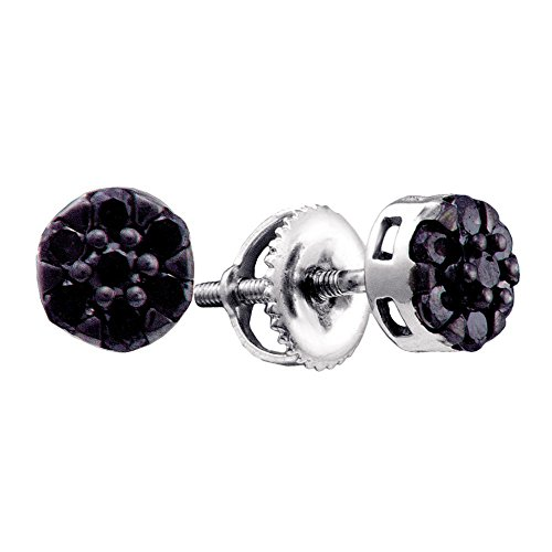 Roy Rose Jewelry 14K White Gold Womens Round Black Color Enhanced Diamond Flower Cluster Earrings 3/8-Carat tw ()