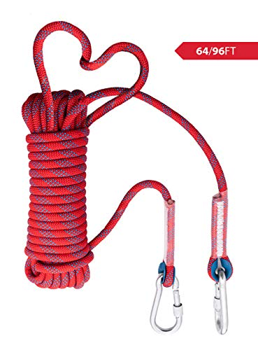 Static Outdoor Safety Rock Climbing Rope - 10mm Hiking Harness and Mountain Climbing Gear Accessories - High Strength Fire Escape Safety Cord & Parachute Rope -Length 32ft(10m) 64ft(20m) and 96ft(30m)