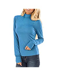 Clearance! Women's Long Sleeve Slim Turtleneck Top Fashion Solid Color Slim Fit Stretch Comfy Basic Top T-shirts Blouse S-3XL