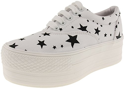 Maxstar Women's C50 5 Holes Platform Canvas Low Top Star Sneakers White 6 B(M) US