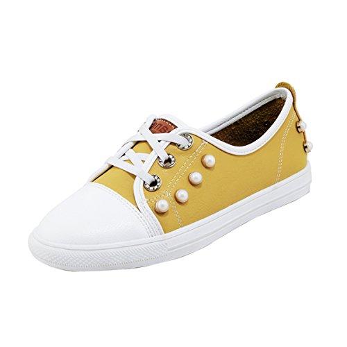 mit Schnürhalbschuhe Gelb YE Flach Perlen Bequem Schuhe Damen Flache qPxIBZ