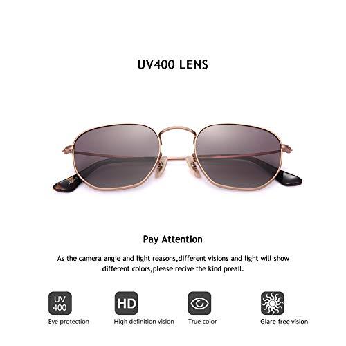 2020Ventiventi AK17033 Rose Gold Frame/Gradient Brown Lens Pentagon 50mm Polarized Stainless Steel ()