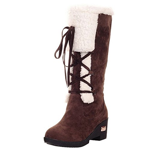 KemeKiss Women Boots Brown Pull On wZUgw