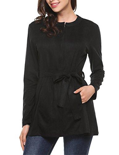 Suede Coat Fur Faux (Zeagoo Women's Suede Belted Crewneck Front Pockets Dust Coat Faux Fur Jacket)