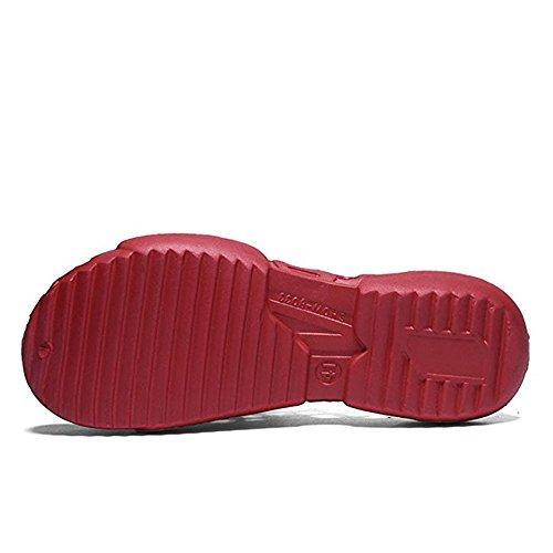Huateng Rouge Casual Flops Plage Sport Flip Chaussures Femmes Creux Unisexes Hommes Couple Sandales Rgq7rR