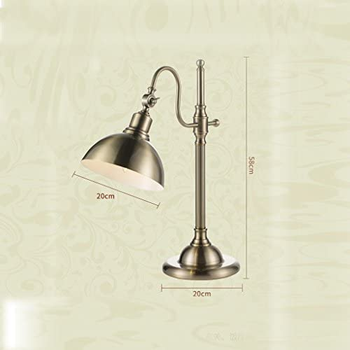 FFLSDR Table Lamp, Bedroom Bedside Lamp, Copper-plated Eye Protection Lamp, Size: 20cm X 51.5cm