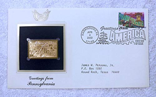 Greetings from Pennsylvania - FDC & 22kt Gold Replica Stamp plus Info Card - Greetings from America Series (Postcard Theme) - Postal Commemorative Society, 2002 - The Liberty Bell, Civil War Cannon: Gettysburg, the Pocono Mountains