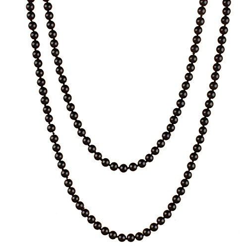 [Perlita Collection Black Single Strand, Hand Knotted Glass Pearl Necklace with 8mm Glass Pearl Beads. The Necklace Measures 36 Inches in Total and Has No Clasp] (Knotted Pearl Strand)