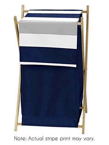 Baby/Kids Clothes Laundry Hamper for Navy Blue and Gray Stripe Bedding