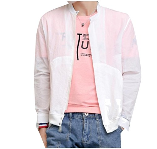 Breathable AngelSpace Collar Outwear Lightweight up Stand White Pocket Men Jacket 7qwFqZ