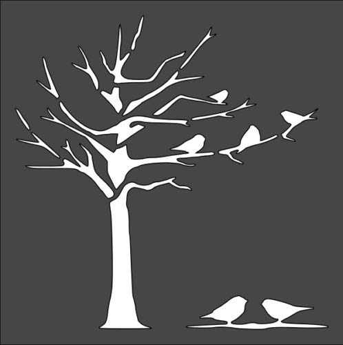 Stencil Birds on a Dead Tree, Plastic Reusable (Dead Tree Stencil)
