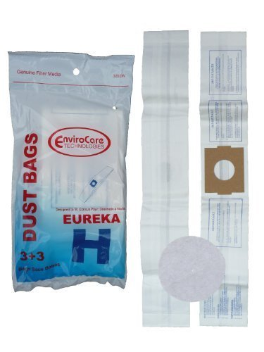 9 Eureka H Canister Vacuum Bags + 3 Filters 52323, Roto-Matic Powerteam Series, Princess, Mighty Mite Vacuum Cleaners, 52323A, 52351, 500, 550, 600, 700 Series Canisters, 1240, 1250, 1255, 1500