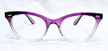 3f9a086cced6 Image Unavailable. Image not available for. Colour: New Womens Half Tinted  Modern Retro Clear Lens Wayfarer Cat Eye Glasses Frames ...