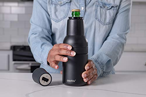 Asobu Frosty Beer 2 Go Vacuum Insulated Double Walled Stainless Steel Beer Can and Bottle Cooler with Beer Opener Eco Friendly and Bpa Free (Silver)