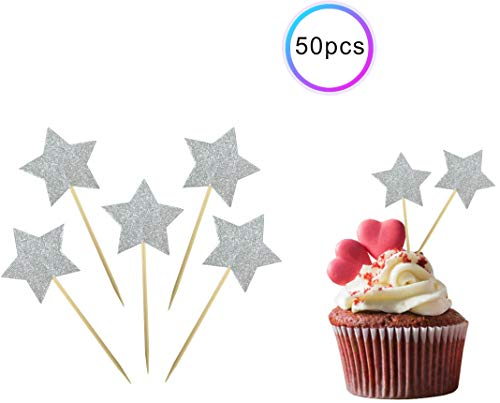 ZOIN 50Pcs Star cupcake toppers for All Occasions Party Supplies Decoration with Double Sided Glitter Stock (Silver)