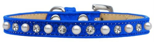 Mirage Pet Products Pearl and Jewel Ice Cream Collar, 10-Inch, Blue