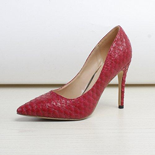 GAOLIM Luz del Alto-Heel Shoes Fina con El Four Seasons, En Vista del Alto Talón Zapatos Cómodos Singles Femeninos Zapatos con Alto (Mayor de 8 Cm) El rojo