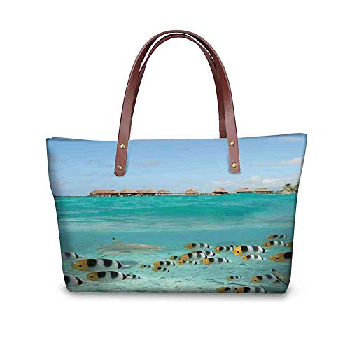 (Custom Handbag Tote Shopping Bags Ocean,Blacktip Reef Shark Chasing Butterfly Fish Lagoon of Bora Bora Tahiti,Aqua Yellow and Black Printing Purse Umbrellas For Women Windproof)