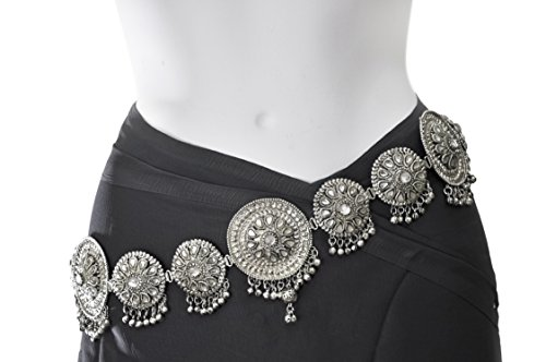 Professional Turkish Belly Dance Costumes (Waist Chain - Belly Chain for Women - Gypsy Belly Dance belt - Silver plated oxidized finish - 23