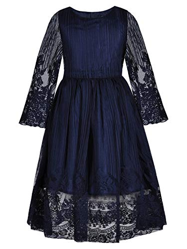 Bonny Billy Girl's Kids Classy Embroidery Lace Maxi Flower Girl Dress 5-6 Years Navy Blue