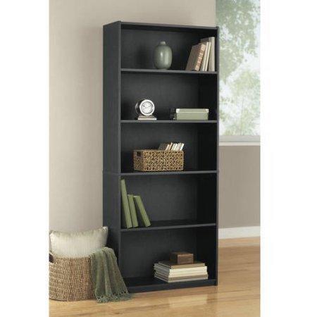 Mainstays 5-Shelf Wood Bookcase, Black (Lawyers Bookcase Hardware)