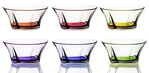 - Mini Colored Glass Round Serving Prep Bowls, 10.5 Ounce - Set of 6