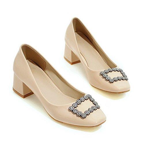Damen Lackleder Mittler Quadratisch Zehe Rein Ziehen auf Pumps Schuhe, Schwarz, 41 VogueZone009