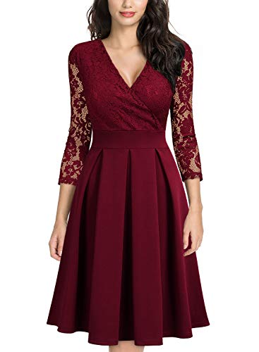 MISSMAY Women's Vintage Floral Lace 2/3 Sleeve Bridesmaid Party Dress, Large, Wine Red (Red Dresses For Bridesmaid)