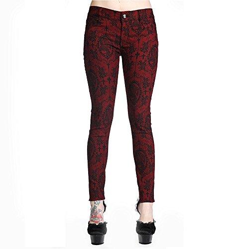 Vietato donna Steampunk Cameo scheletro Pantaloni Stretch colore vinaccia
