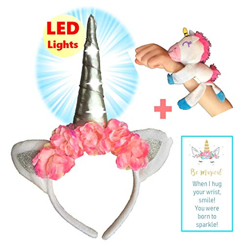 Unicorn Gifts, Headband for Little Girls with LED Light-Up Silver Horn and Pink Flowers and Bracelet, Birthday Favors Costume Party Gift Set