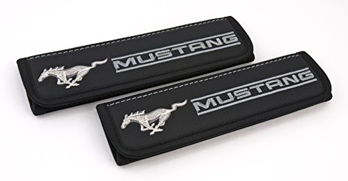 Seat Mustang Belt Belt Ford (Car Interior Seat Belt Covers for Adults Black Shoulder Pads Seatbelt Cover pad with Embroidered Grey Emblem Accessories Compatible for Mustang Great idea for a Gift to The Driver! 2 pcs)