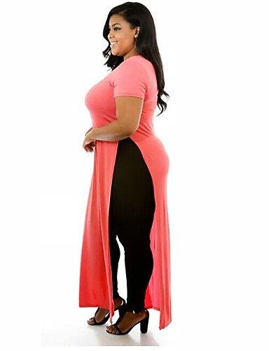 Décontracté Lyq 2xl Pink Couleur Grandes Polyester Aux Pleine Maxi Col Arrondi Tailles Robe Femmes XS7S4wqT