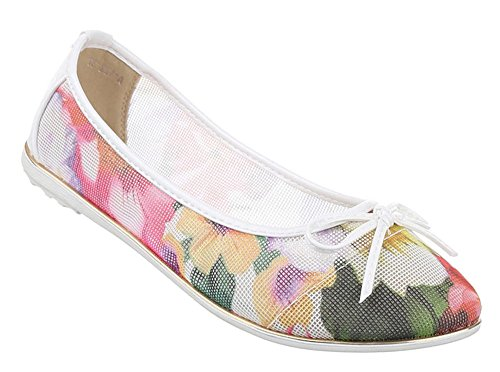 und in Ballerinas Schuhe verschiedenen Weiß Pumps perforierte Größen Farben Blumen Muster Slipper Schuhcity24 Schleife elegante mit mit Damen SpwYqzw