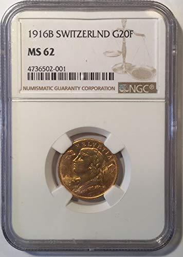 1916 CH KM # 35.1 20 Francs MS-62 -