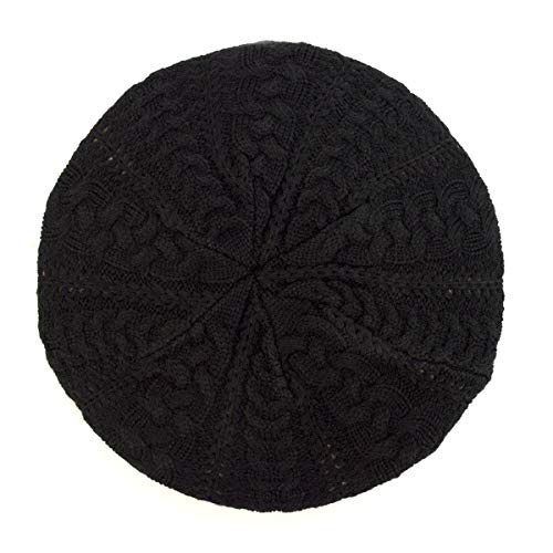 (BG Soft Knit Beanie for Women Solid Color Knitted Crochet Beret Beanie Hat One Size Slouchy Black)