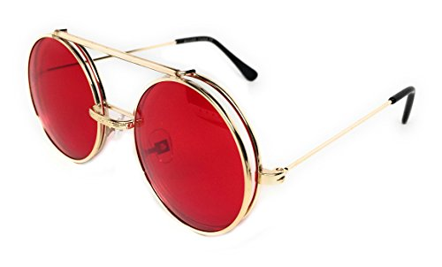 WebDeals - Round Flip Up Steampunk Flip-Up Metal Django Sunglasses (Gold, - Shades For Men