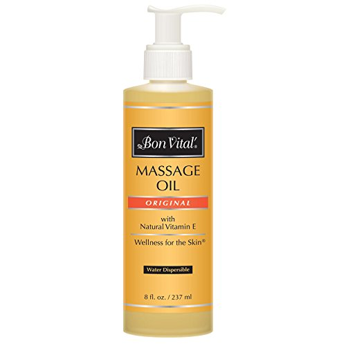 Bon Vital' Original Massage Oil for a Versatile Massage Foundation to Relax Sore Muscles and Repair Dry Skin, Most Requested Best Massage Oil on Market, Unbeatable Consistency and Quality, 8 Oz Bottle ()