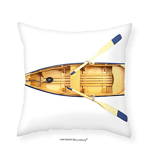 Mexican Sand Vessels (VROSELV Custom Cotton Linen Pillowcase Oar Wooden Fishing Boat with Paddles Sea Vessel Little Ship Marine Yacht Picture for Bedroom Living Room Dorm Sand Brown Blue 18