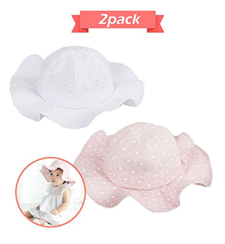 (Sumolux Infants Baby Girls Sun Hat Floral Hollow Large Wide Brimmed Cotton Sun Protection Toddler Hat)