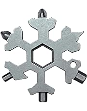 Amanely 18-in-1 Stainless Snowflake Multi-Tool, Outdoor Portable Keychain Screwdriver -Bottle Opener (18 in 1 Silver)