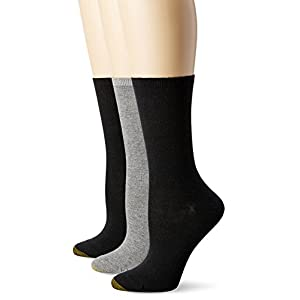 Gold Toe Women's Non-Binding Flat Knit Crew Sock 3-Pack, Black/Charcoal Black, 9-11