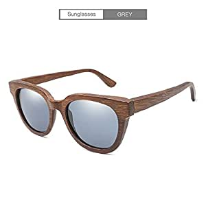 Songlin@yuan New Polarized Sunglasses Handmade Bamboo Classic Retro Sunglasses Full Bamboo Mirror mask Outdoor Driving Unisex (Color : Gray)