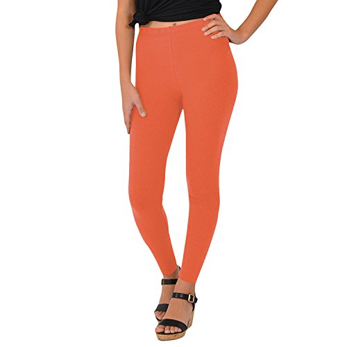 Stretch is Comfort Women's Cotton Footless Leggings Coral Small ()