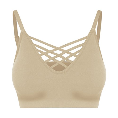 Nolabel [6661 Womens Seamless Plus Size Bustier Cami Crop Tank Top Cage Crisscross Cutout Sports Bra Bralette Pad [Taupe] (Secrets Lace Wire Free Bra)