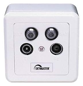 Skymaster - Enchufe gemelo para satélite, TV y radio para receptor gemelo, color blanco